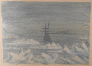 Watercolor of ship in ice and fog