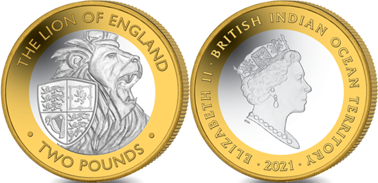 British Indian Ocean Territory 2 pounds 2021 - The Queen's Beasts - The Lion of England