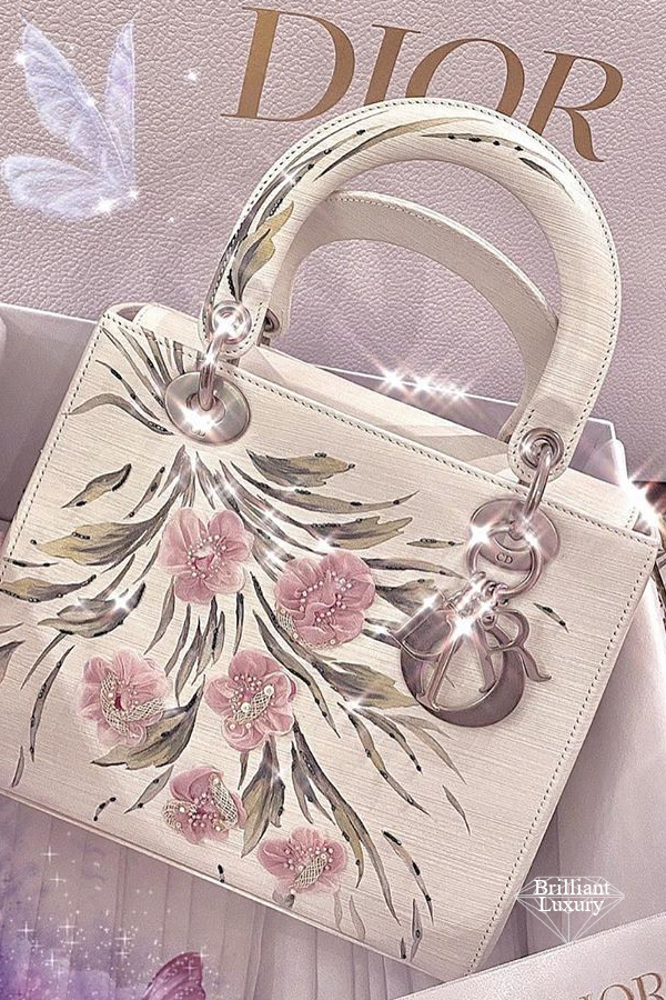 DIOR Lady Dior Art Bag by Jia Lee in off-white cowhide printed with flowers, embroidered with organza and glass beads #brilliantluxury