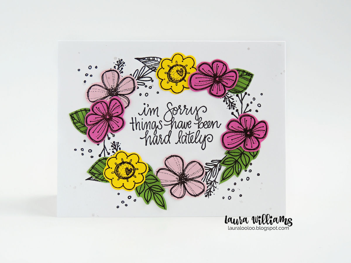 I'm sorry things have been hard lately - handmade cardmaking idea with stamps from Impression Obsession for paper crafts #impressionobsession #handmadecards