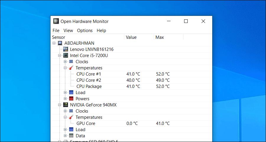 مراقبة درجة حرارة اللاب توب والكمبيوتر