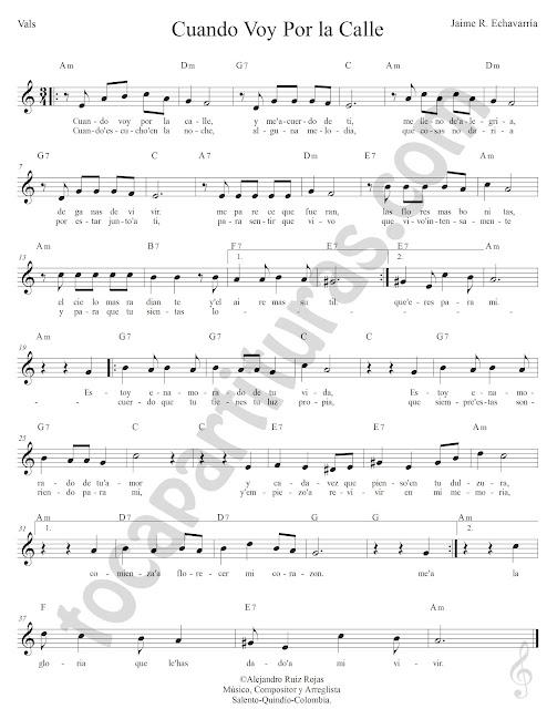 Cuando voy por la Calle Vals de Jaime Echavarría Partitura Fácil con Acordes Cuando voy por la calle Vals Easy Sheet Music with Chords