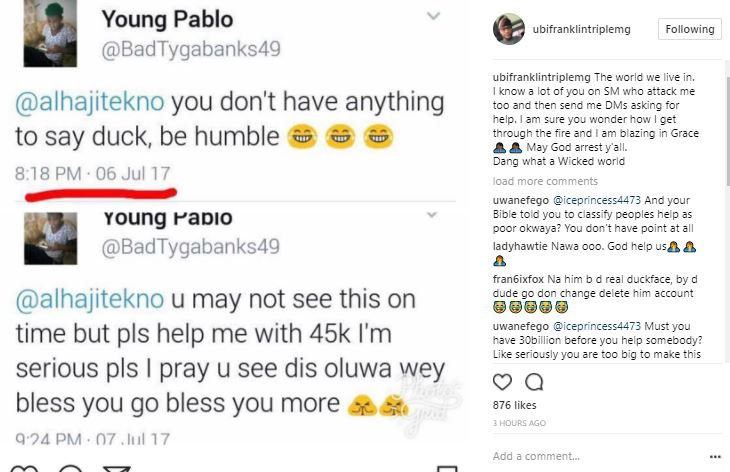 Ubi Franklin expose twitter user who insult Tekno then tried to beg