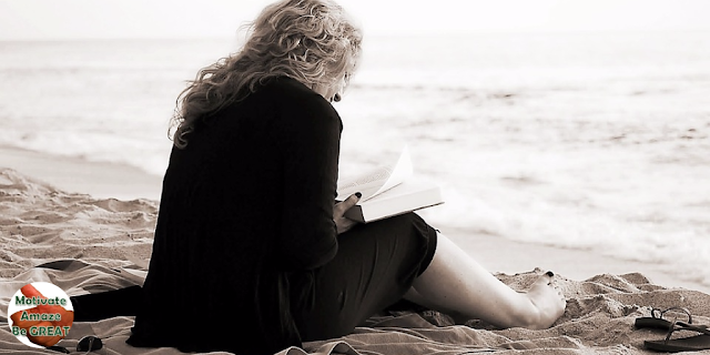 "Header image of the article: ""Inspirational Words Of Wisdom About Life In 45 Quotes"" - Girl reading inspirational words of wisdom"