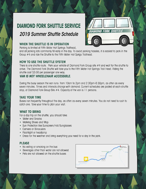 Hiking to Diamond Fork Hot Springs, Diamond Fork Hot Springs shuttle