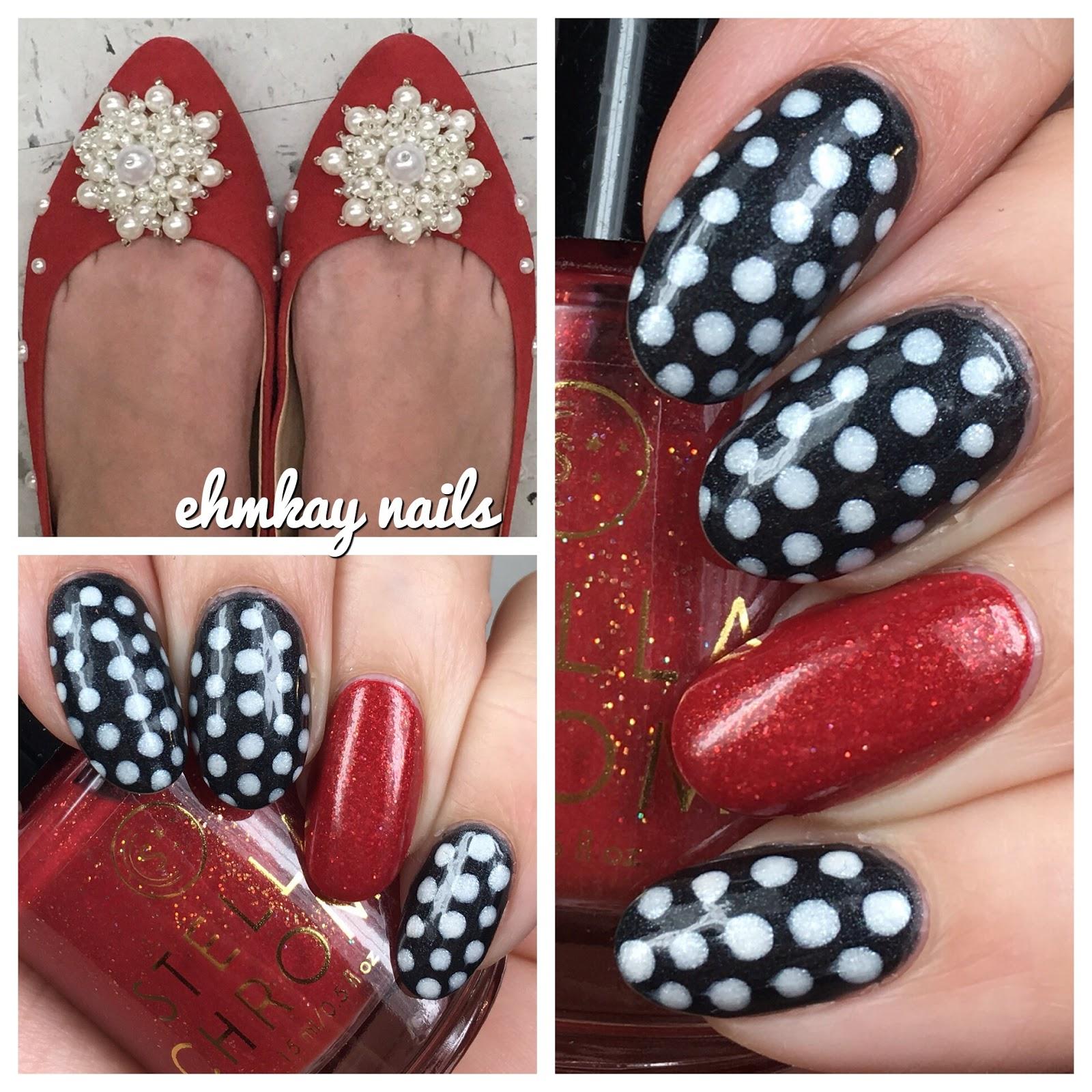 ehmkay nails: Matching My Outfit: Polka Dot Nail Art