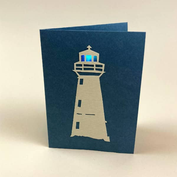 lighted paper cut lighthouse card