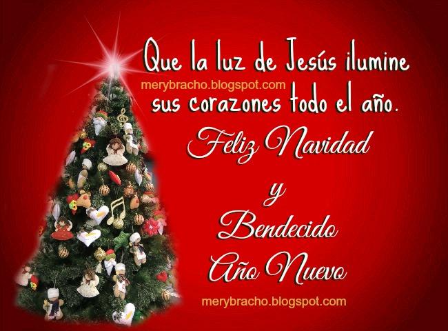 Tarjeta Feliz Navidad, Año Nuevo Bendecido. Postales cristianas Navideñas, tarjetas con imágenes de feliz navidad y año nuevo 2o14, bendiciones de Jesús su luz en el próximo año, Dios te bendiga en el año nuevo. Postal linda con mensaje cristiano de navidad.