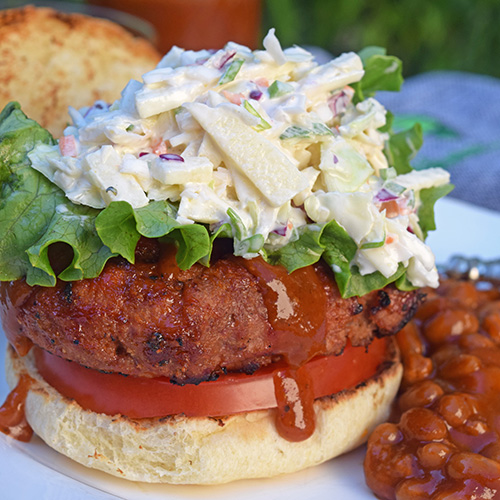 BBQ Infused Turkey Burger with Apple Jalapeno Slaw