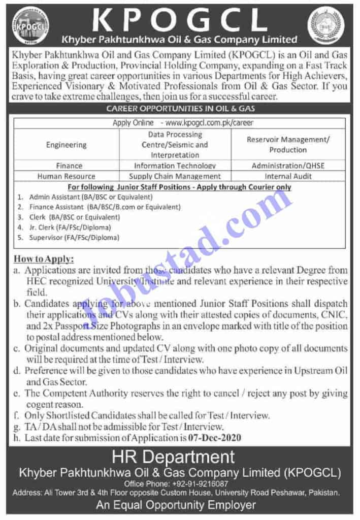 Jobs in Oil and Gas Company Limited KPK (KPOGCL) Nov 2020