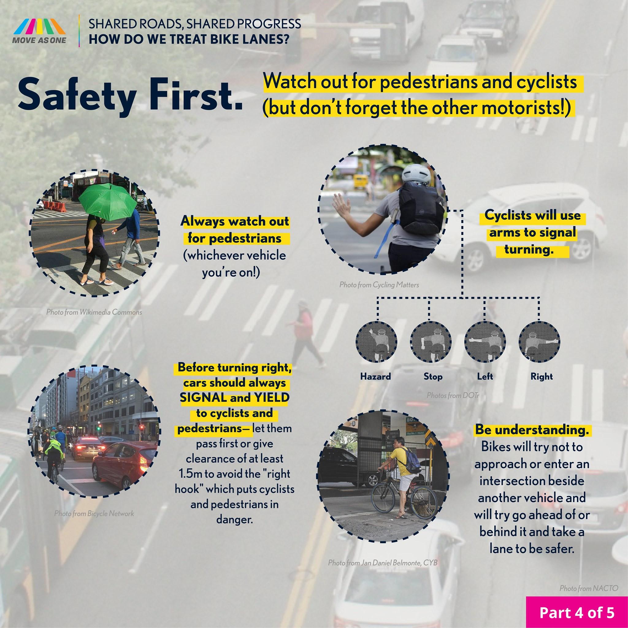 biker bike lane safety infographics
