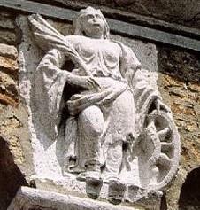 Relief of St Catherine, Campanile, Santa Caterina, Mazzorbo