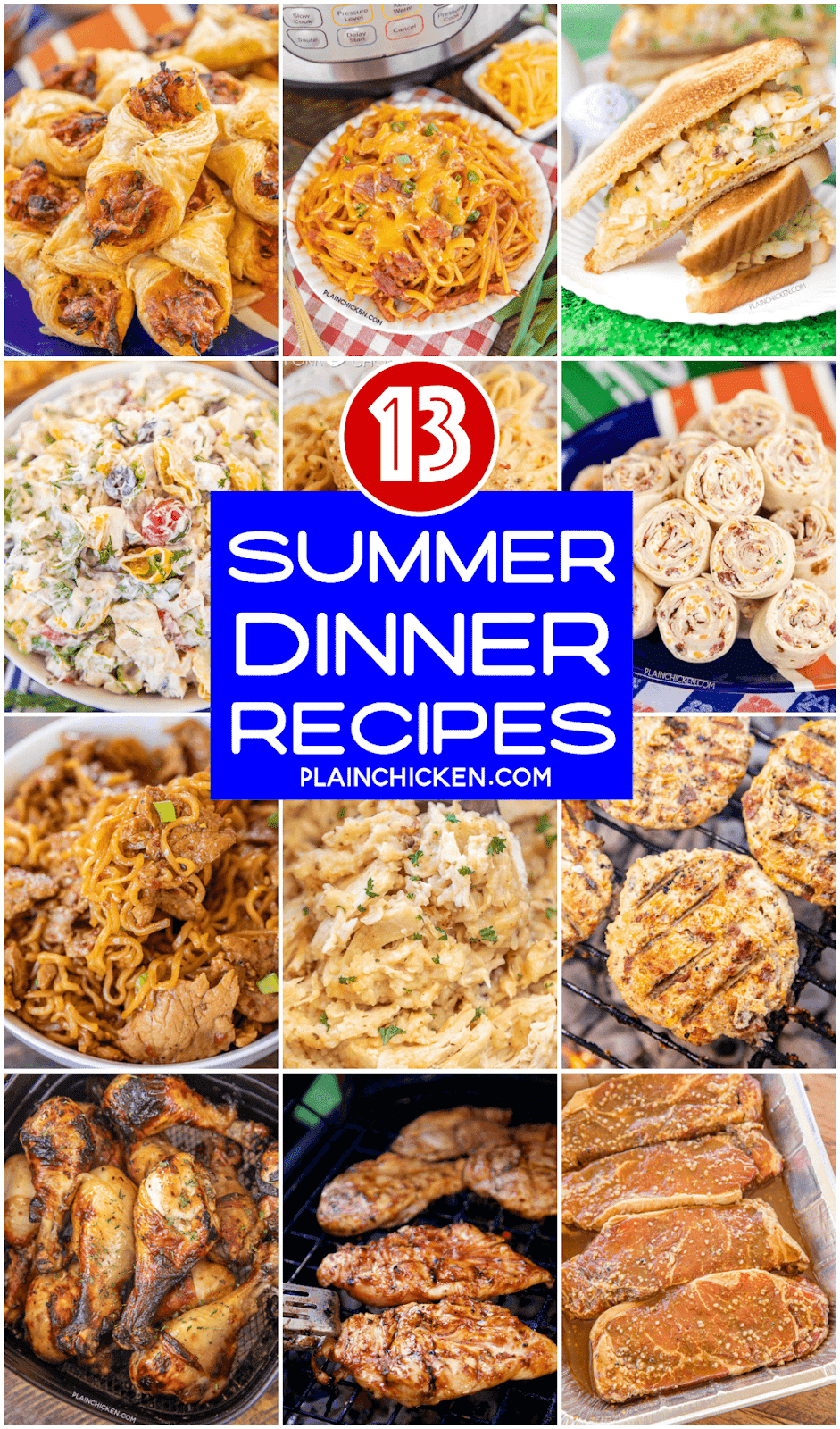 collage of easy summer dinner photos