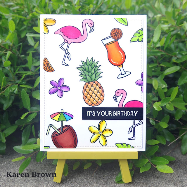 Pattern stamping using Sunny Studio's Tropical Paradise stamp set.