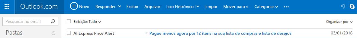Conferir e-mails de alertas aliexpress