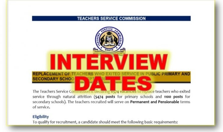 New Updated TSC Recruitment Interview Dates and Venues for September 2020 Teaching Vacancies