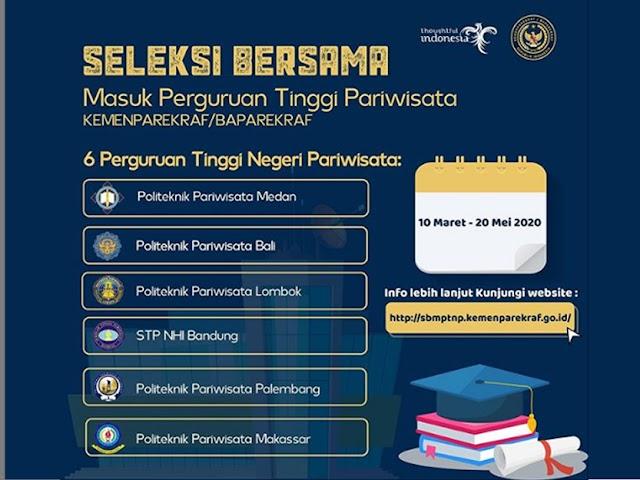 Jadwal dan Prosedur Pendaftaran Seleksi Perguruan Tinggi Pariwisata Tahun Akademik 2020-2021
