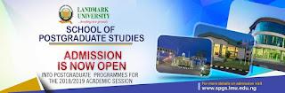 LandMark University Postgraduate School Admission Form - 2018/2019