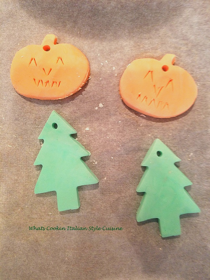 pumpkins and christmas tree dough art