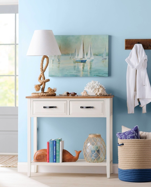 Blue Entrayway STorage Console Table Idea