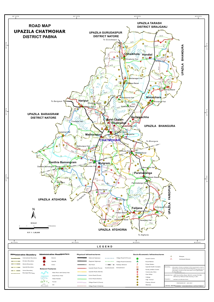 Chatmohar Upazila Road Map Pabna District Bangladesh