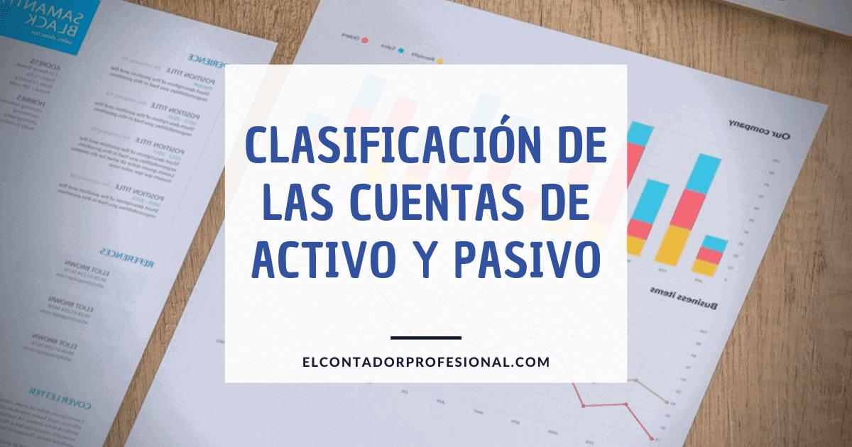 clasificacion de las cuentas de activo y pasivo