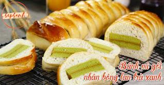 2in1-cach-lam-banh-mi-goi-nhan-bong-lan-tra-xanh