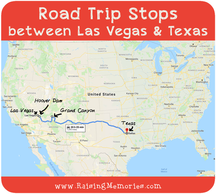 Road Trip Stops (between Las Vegas & Dallas) Map A Road Trip With Stops on awesome map, love map, a united states map,