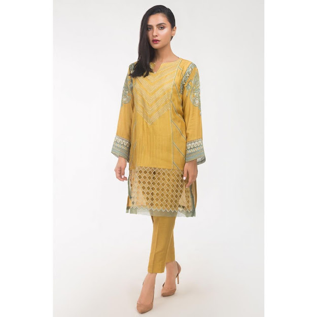 Gul Ahmed women Eid collection Yellow color suit