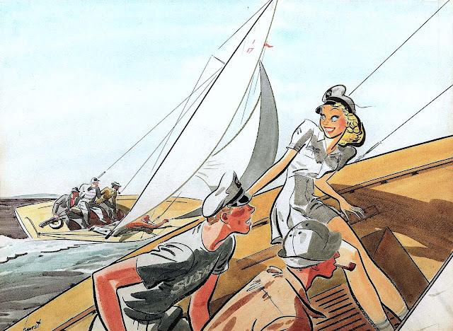 an Earl Oliver Hurst illustration of a sailboat race