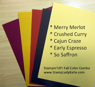 Stampin'UP! fall color combination: Merry Merlot, Crushed Curry, Cajun Craze, Early Espresso and So Saffron