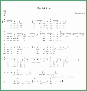 not angka lagu mudiak arau lagu daerah sumatera barat