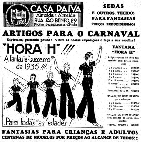 Propaganda de lojas de departamento na década de 30 que promovia da venda de fantasias de carnaval.