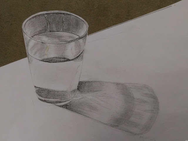 Water in a glass pencil study