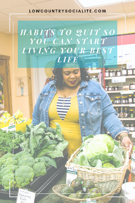 Habits To Quit So You Can Start Living Your Best Life, The Low Country Socialite, Plus Size Blogger, Savannah Georgia, Hinesville Georgia, Kirsten Jackson, Denim Jacket - Eloquii,  Dress - ModCloth,  Location - Farmer's Natural Foods, Hinesville GA,  Photography -  ShellyCStudio