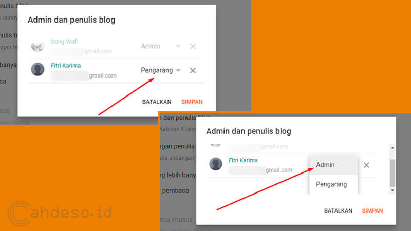 Mengubah Email Baru Sebagai Admin Blog