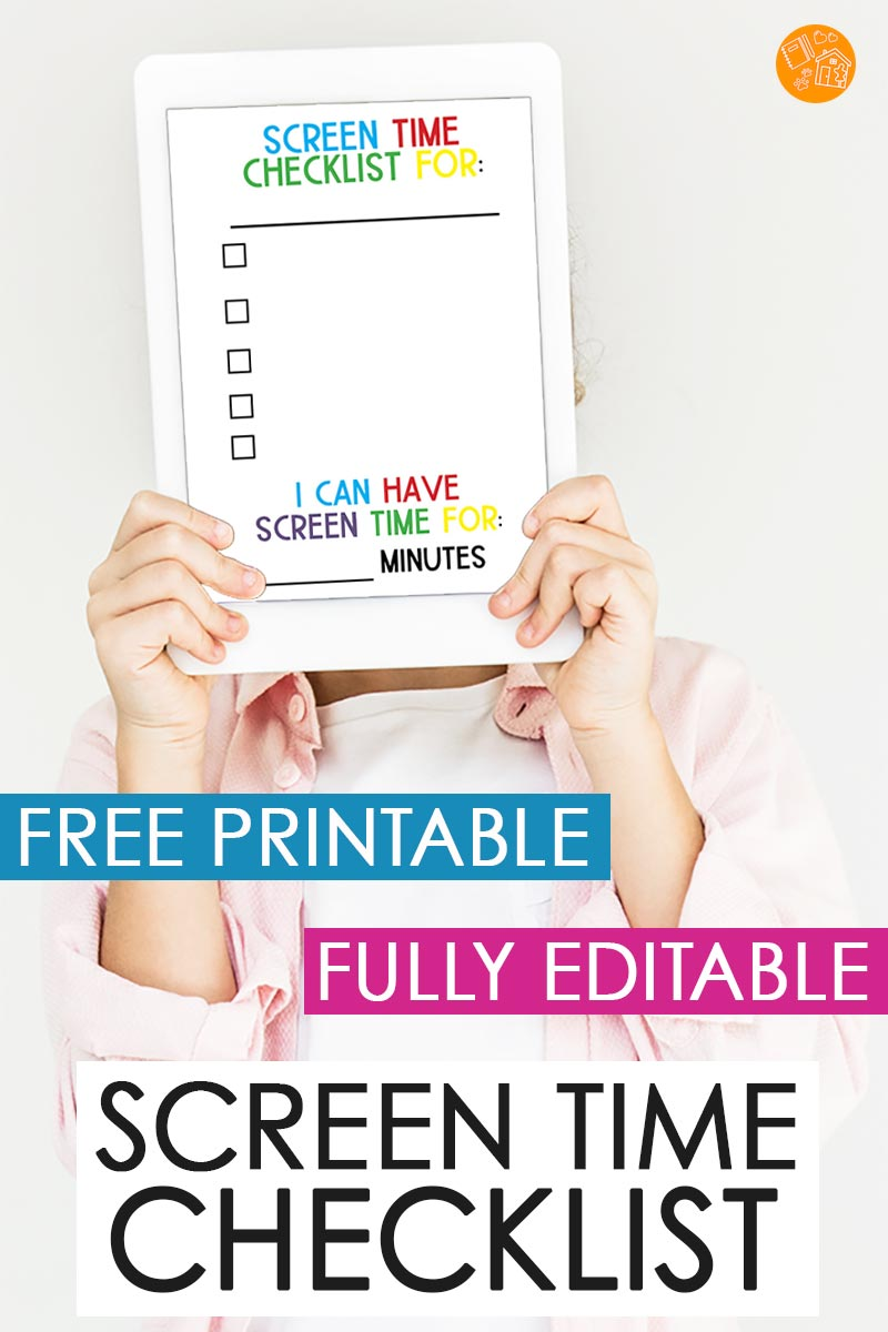 This FREE printable screen time checklist is totally editable and customizable for YOUR family's screen time rules. This is the perfect checklist for any age and any time of year! Stop screen time struggles with this easy to update template. #screentime #printable #parenting #momhack