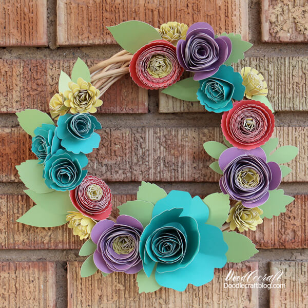 bright color rolled flower papercraft wreath using the Cricut Explore Air 2.