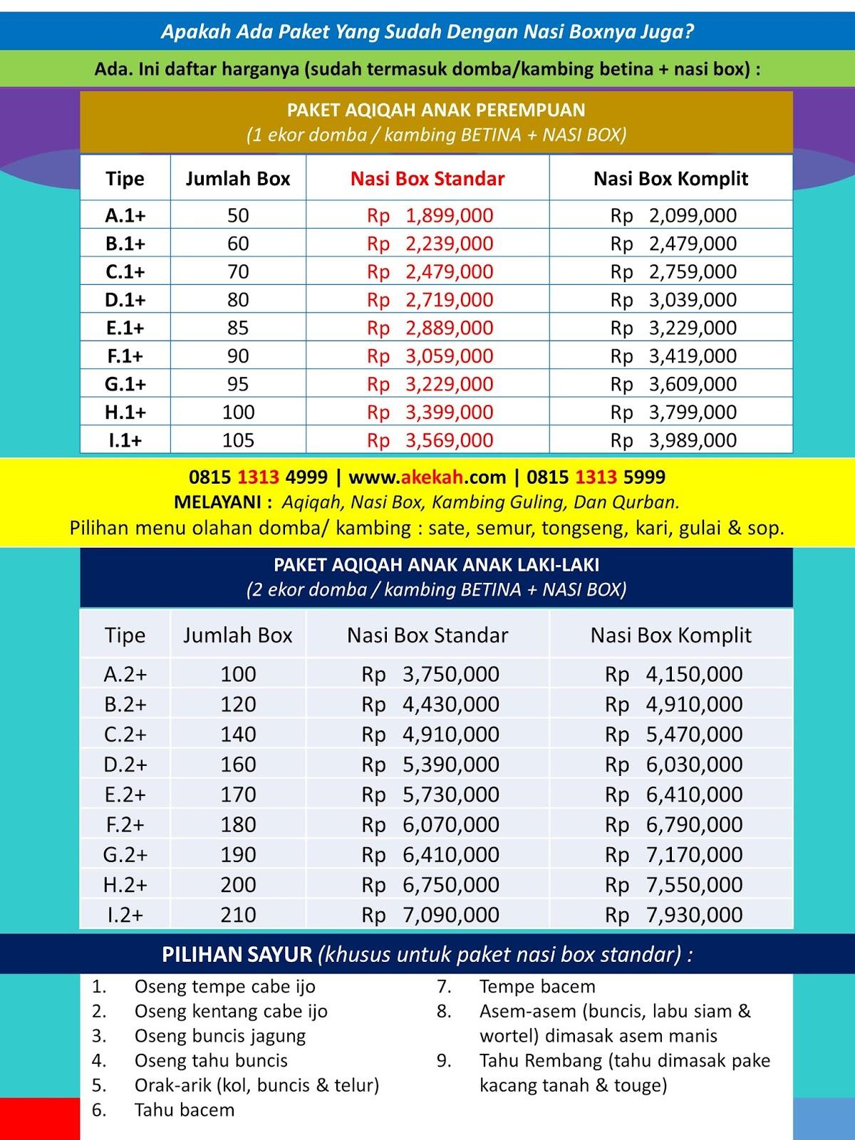 Harga Aqiqah & Catering Daerah Kecamatan Cibinong Bogor Jawa Barat