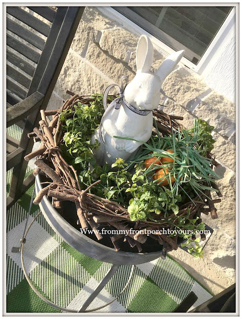 Early Spring Front Porch-Bunny-Vignette-Nest-From My Front Porch To Yours