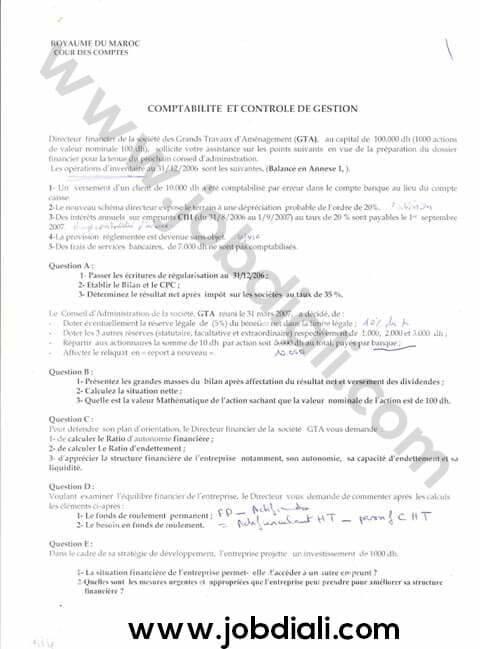 Exemple Concours de Recrutement des Administrateurs 2ème grade - Cour des comptes
