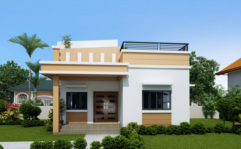 One storey house with roof deck for Small house roof design pictures