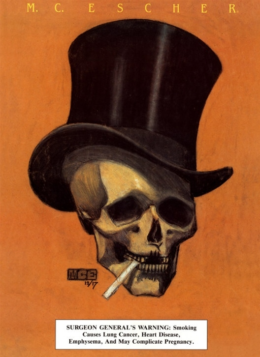 M.C. Escher - Skull with cigarette and top hat