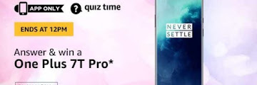 Amazon 15 March Quiz Answers Today - Win One Plus 7T Pro Smartphone