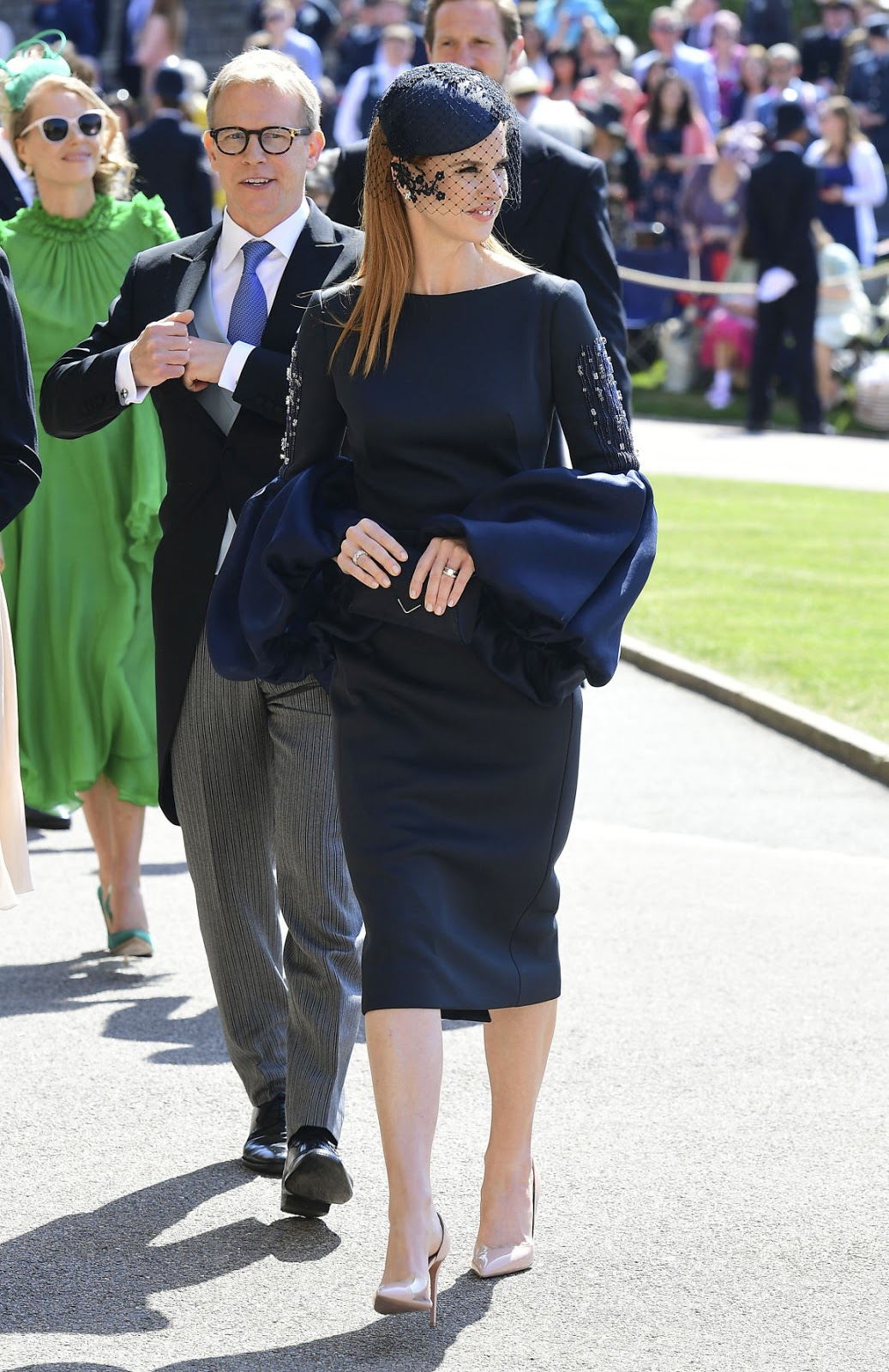 Sarah Rafferty arrives for the wedding ceremony of Prince Harry and Meghan Markle at St. George's Chapel in Windsor Castle in Windsor, near London, England, Saturday, May 19, 2018.