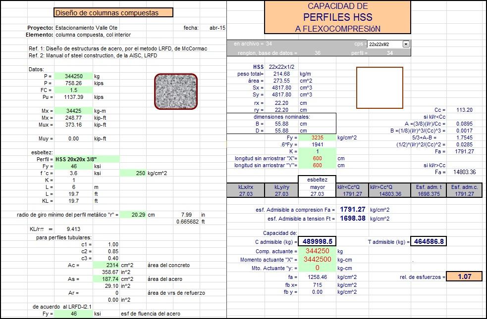 Diseño de columnas compuestas, propiedades de perfiles metalicos HSS Tubulares