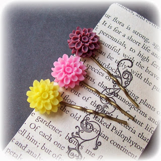 image wildflower bobby pin set hair pink yellow purple two cheeky monkeys