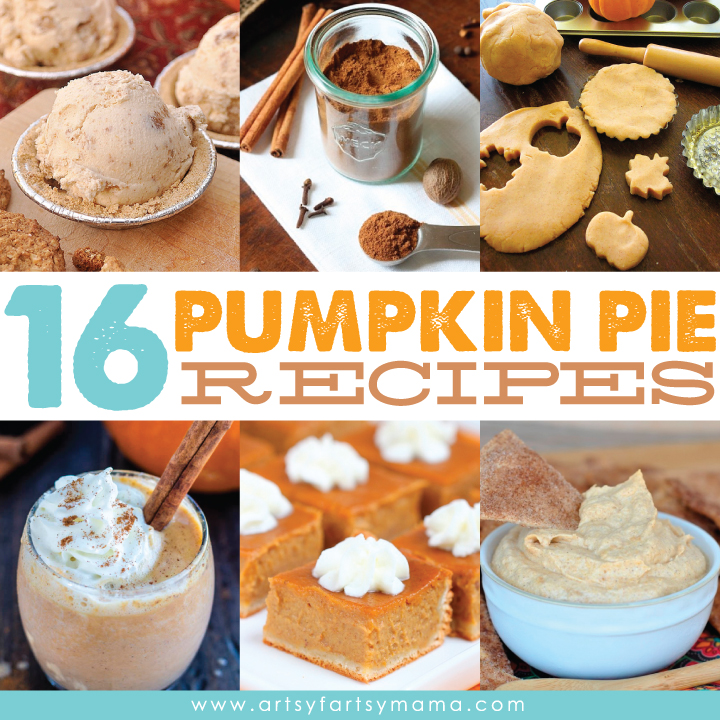 16 Pumpkin Pie Inspired Recipes at artsyfartsymama.com #fall #pumpkin
