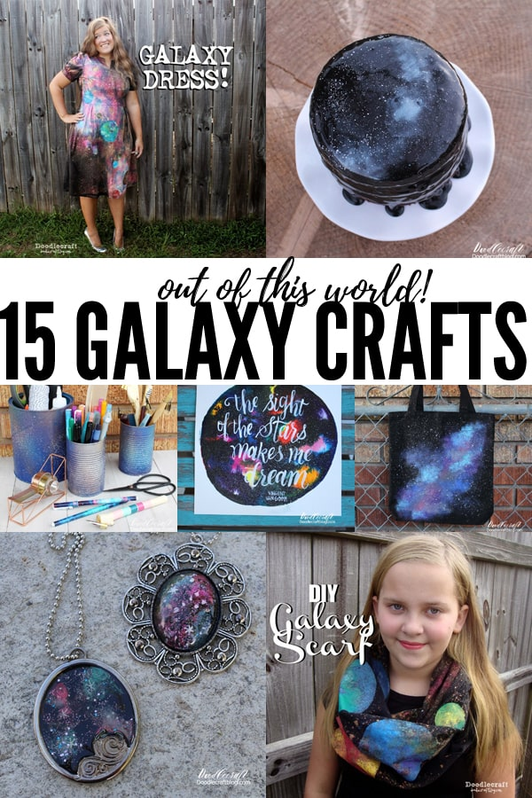 "15 Out of this World Galaxy Crafts + DIY's! Here's a fabulous round up of 15 ""Out of this World"" crafts! Throw a space themed party, make something fun to wear, upcycle some old shoes or clothes, and have a blast! I love my Galaxy Dress!"