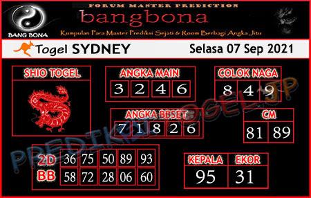 Prediksi Bangbona Sydney Selasa 07 September 2021